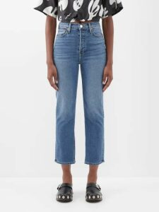Staud - Pearl Checked Ruffled Crop-top - Womens - Light Blue