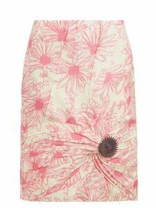Calvin Klein - Brooch-embellished Floral-print Silk Skirt - Womens - Pink White