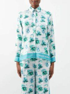 Erdem - Annalee Floral Print Satin Dress - Womens - Blue Multi