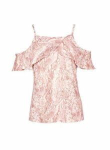 Womens Pink Snake Print Frill Cold Shoulder Top, Pink