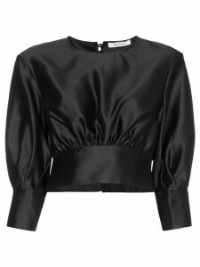Deitas Sade pouf-sleeve silk blouse - Black