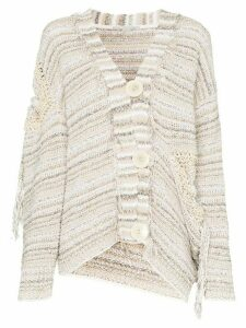 Stella McCartney tie-detail cotton-blend knit cardigan - Neutrals