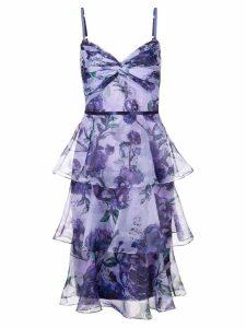 Marchesa Notte tiered floral dress - Purple
