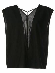 Rick Owens sheer front panel blouse - Black