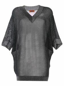 Missoni Vanise lamé v-neck top - Silver
