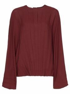Valentino batwing sleeve pleated blouse - Red