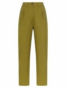 Mara Hoffman Jade high-waisted straight leg linen trousers - Green
