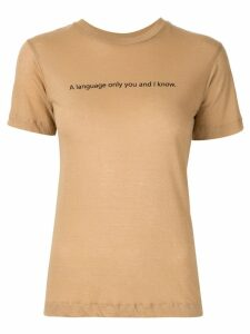 Song For The Mute slogan print T-shirt - Brown
