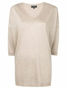 Fay metallic V-neck jumper - GOLD