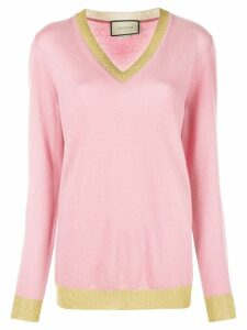 Gucci v-neck lurex detail sweater - PINK