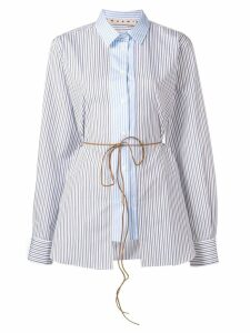 Marni striped tie waist shirt - Blue