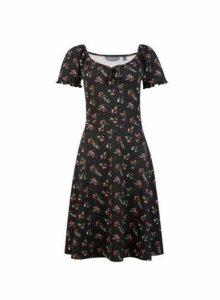 Womens Tall Black Ditsy Print Gypsy Skater Dress, Black