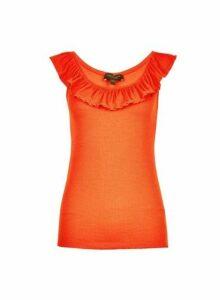 Womens Orange Victoriana Ruffle Vest, Orange