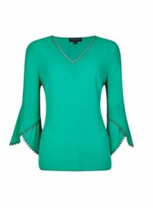 Womens Green Trim Sleeve V-Neck Top, Green