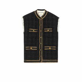 Tweed sleeveless vest with decorative trim