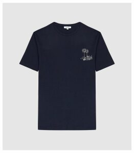 Reiss Tropical - Palm Tree Embroidered T-shirt in Navy, Mens, Size XXL