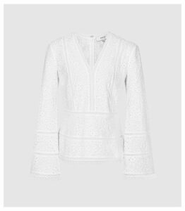 Reiss Acelina - Broderie Anglaise Top in White, Womens, Size 14