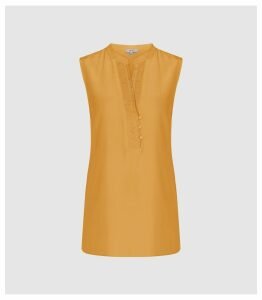 Reiss Cecily - Silk Button Detail Top in Orange, Womens, Size 14
