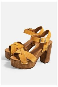 Womens Vanessa Leather Mustard High Clog Sandals - Mustard, Mustard