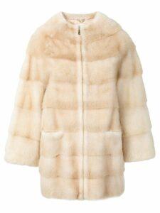 Liska Joy trimmed coat - Neutrals
