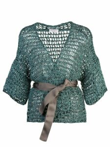 Brunello Cucinelli belted cardigan - Green