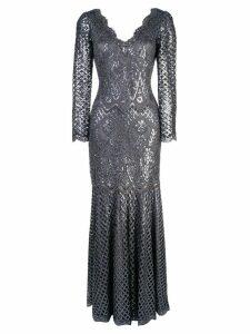 Tadashi Shoji sequin embroidered evening dress - Grey