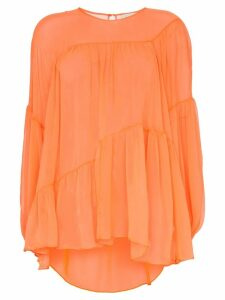 Lee Mathews Emily silk tiered wave top - ORANGE