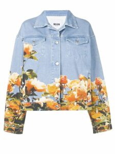 MSGM floral print denim jacket - Blue