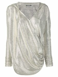 Balmain laminated-effect hooded knit top - GOLD