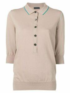Eudon Choi 3/4 sleeves polo shirt - NEUTRALS