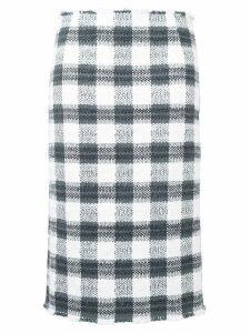 Thom Browne Silk Ribbon Cardigan Pencil Skirt - Grey