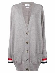 Thom Browne Rwb Cuff Oversized Merino Cardigan - Grey