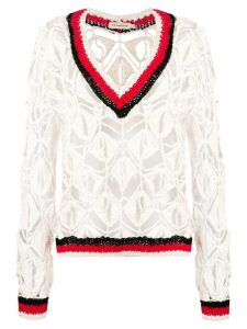Oneonone crochet jumper - White