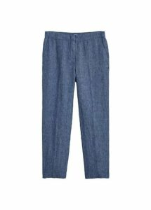 Straight linen-blend trousers