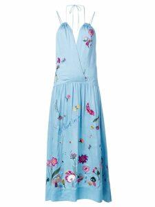 Mira Mikati embroidered halterneck dress - Blue