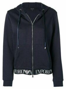 Emporio Armani logo print hoodie - Blue
