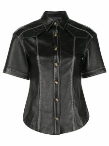 Proenza Schouler Leather Short Sleeve Top - Black