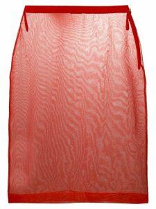 Miu Miu sheer mesh pencil skirt - Red
