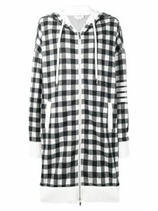 Thom Browne 4-Bar Gingham Oversized Hoodie - Blue