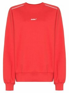 Ader Error oversized contrast-piping cotton-blend sweatshirt - Red