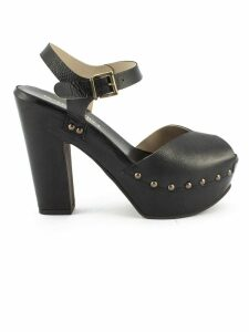 Duccio del Duca Black Leather Eos Sandals