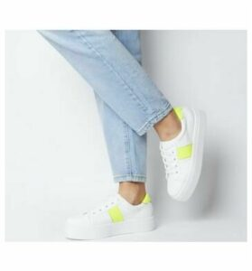 Office Feature Platform Lace Up Trainer WHITE WITH NEON YELLOW