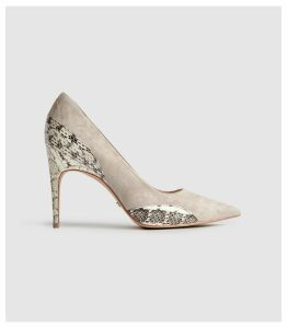 Reiss Mia - Snake Detailed Suede Court Shoes in Natural, Womens, Size 8
