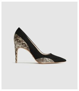 Reiss Mia - Snake Detailed Suede Court Shoes in Black, Womens, Size 8
