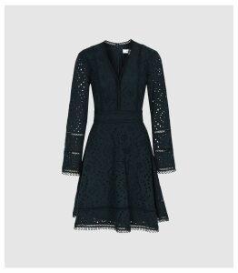 Reiss Selina - Broderie Ruffle Mini Dress in Navy, Womens, Size 16