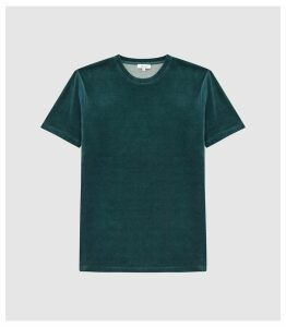 Reiss Vincent - Velour Crew Neck T-shirt in Dark Teal, Mens, Size XXL