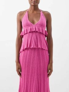 Junya Watanabe - Herringbone-stripe Wool-blend Skirt - Womens - Navy