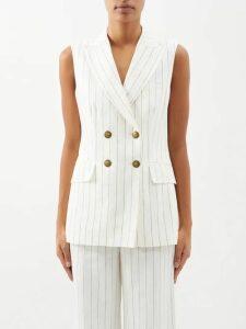 Rebecca De Ravenel - Apple-print Gingham Silk Dress - Womens - Blue Multi