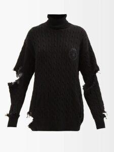 Prada - Flatform Floral-appliquéd Leather Sandals - Womens - Black