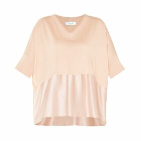 PAISIE - Relaxed Fit Knitted V-Neck Top With Silk Panel In Blush